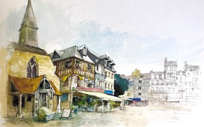 Picture the city, figure, France, home, watercolor, Honfleur