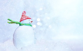Picture winter, snow, holiday, toy, Christmas, New year, snowman, light background, scarf, snowfall, cap, figure