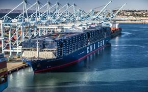 Picture The ship, Benjamin Franklin, A container ship, Cranes, Port, CMA CGM, Vessel, Container Ship, CMA …