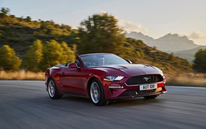 Picture road, Ford, convertible, 2018, dark red, Mustang Convertible