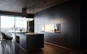 Picture room, interior, kitchen, megapolis
