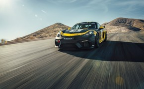 Picture machine, the sun, mountains, coupe, speed, Porsche, sports, Clubsport, 718, Cayman GT4