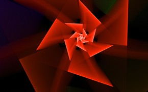 Picture flower, triangles, black background, red