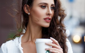 Picture look, girl, hair, coffee, Maxim Romanov