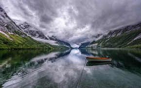 Wallpaper clouds, mountains, overcast, boat, pond, Bank, boat