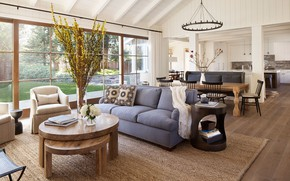 Picture interior, kitchen, living room, dining room