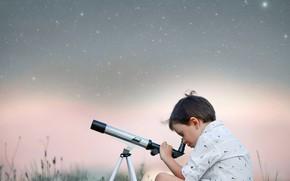 Picture the sky, grass, nature, stars, boy, telescope, child, Larisa Korsikova
