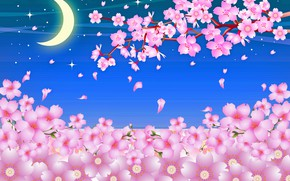Picture the sky, a month, Sakura, flowering