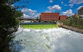 Picture the sky, the sun, clouds, trees, bridge, river, waterfall, home, Washington, USA, Spokane Fall