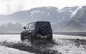 Picture water, snow, mountains, squirt, fog, jeep, Land Rover, the roads, Trophy, trophy, Defender, 2022, Land …