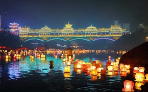 Picture China, lanterns, Guangxi, The mid-autumn festival