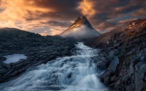 Picture mountains, river, tops, Norway, Norway, The Scandinavian mountains, Jotunheimen, Jotunheimen, Scandinavian Mountains