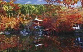 Picture autumn, lake, the bridge, gazebo