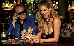 Picture girl, money, whiskey, casino, win