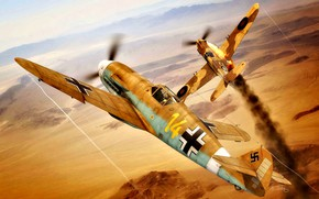 "Picture Smoke, Desert, The second World war, North Africa, P-40 Tomahawk, Bf.109F-4/trop, I./JG27, ""Star Of Africa"""