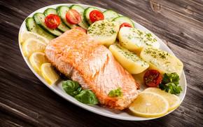 Picture greens, fish, lemons, potatoes