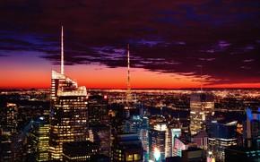 Picture city, lights, windows, USA, night, New-York, skycrapers