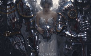 Picture rain, blood, sword, helmet, white dress, Princess, knights, grief, the convoy, Wlop, armor plate, experience