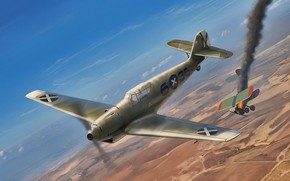 Picture war, art, airplane, aviation, bf-109