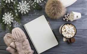 Picture hat, Notepad, pencil, Wood, Winter, cocoa, marshmallows