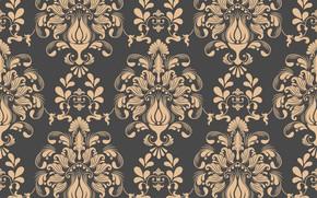 Picture leaves, flowers, retro, pattern, texture, vintage