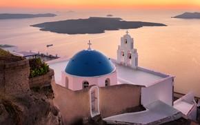 Picture sea, landscape, sunset, the city, rock, the evening, Santorini, Greece, Church, the dome, Thira, Ia