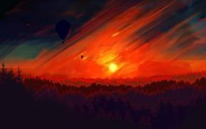 Picture Sunset, The sun, The sky, Tree, Trees, Forest, Sky, Art, Tree, Sun, Sunset, Balloon, Forest, …