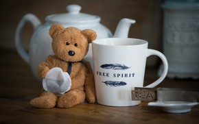 Picture tea, toy, bear, Cup