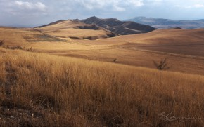Picture autumn, the sky, grass, clouds, mountains, hills, Bush, slope