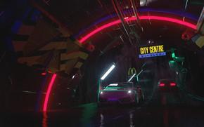 Picture Auto, Night, Music, Lamborghini, Neon, Machine, Rain, Style, Gallardo, DeLorean DMC-12, Art, Art, 80s, Style, ...