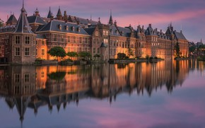 Picture river, the building, the evening, Netherlands, Holland, The Hague, Binnenhof