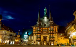 Picture night, the city, lights, building, home, Germany, cyclist, architecture, night, Playground, the night sky, tables, …