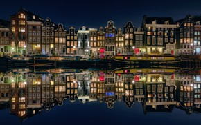 Picture water, light, reflection, night, lights, boats, Amsterdam, Netherlands
