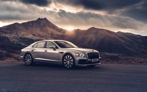 Picture sunset, Bentley, Flying Spur, 2020, Blackline