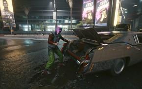 Picture Night city, The trunk, Cyberpunk 2077, Crime, Cyberpunk 2077, Night city 2077