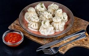 Picture knife, ketchup, dumplings, khinkali