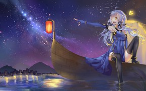 Picture girl, night, boat, lantern, Vocaloid