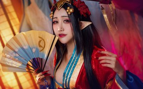 Picture look, girl, face, pose, style, background, elf, portrait, makeup, brunette, fan, costume, outfit, image, kimono, …