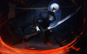 Picture Girl, Figure, Style, Android, Art, Fiction, Nier, Figure, Illustration, Katana, Sword, Characters, Automata, Game Art, …