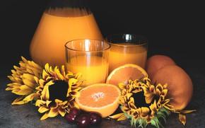 Picture sunflowers, oranges, juice