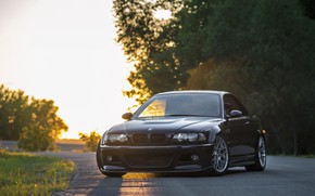 Picture BMW, Classic, Black, Sunset, E46, Evening
