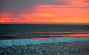 Picture sea, the sky, sunset, shore, the evening, horizon, surf