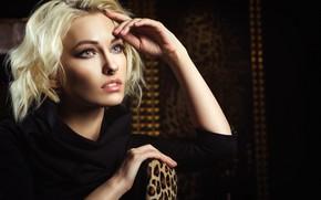 Picture pose, model, portrait, makeup, dress, hairstyle, blonde, beauty, sitting, in black, Nikolas Verano