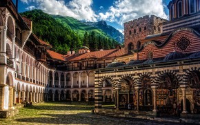 Picture mountains, architecture, the monastery, Bulgaria, Bulgaria, Rila Mountains, Rila monastery, Rila Monastery, Rila Mountain