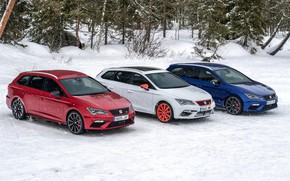 Picture snow, trees, Parking, Seat, 2017, Leon Cupra ST, station wagons