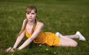 Picture grass, girl, nature, pose, sneakers, dress, tails, Rus, Alex Lozgachev