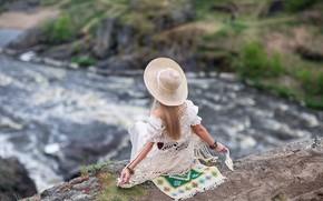 Picture girl, rock, river, back, hat, Anastasia Barmina