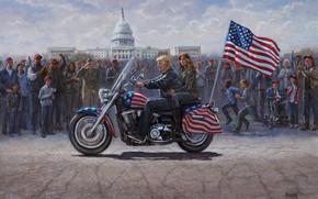Picture Jon McNaughton, Donald Trump, The President of the United States, MAGA Ride