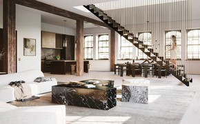 Picture interior, kitchen, living room, dining room, by Dorothee Junkin Design Studio, New York Apartment