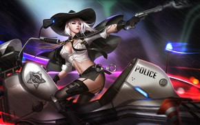 Picture Girl, Police, Bike, Motorcycle, Chase, Blizzard, Art, Game, Illustration, Revolver, Ashe, Liang xing, Sheriff, Overwatch, …